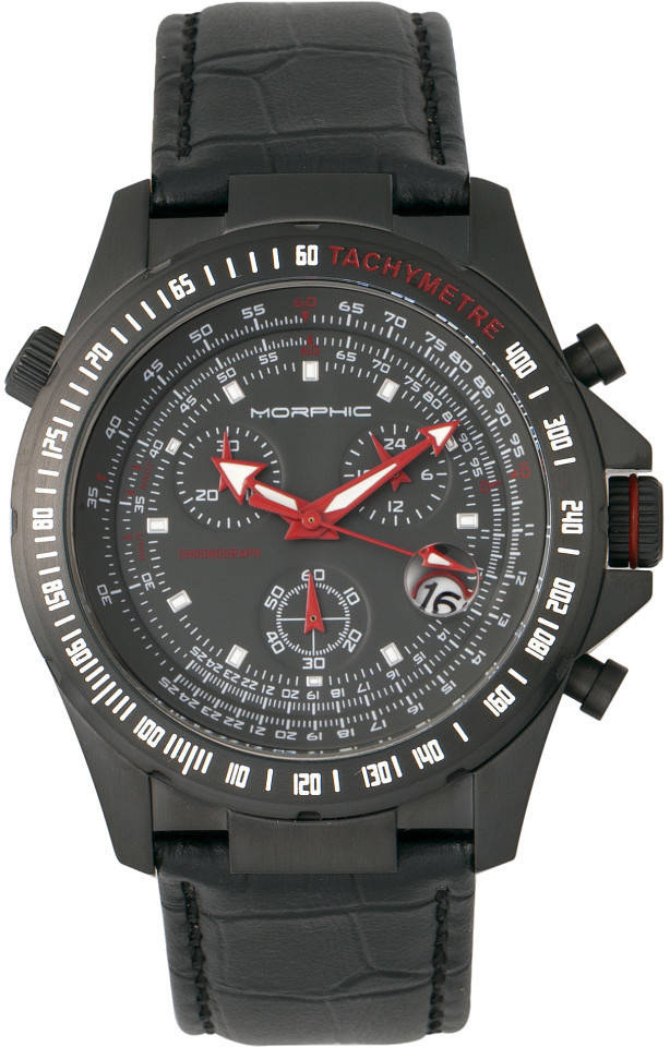 Morphic M36 Series Leather-Band Chronograph Watch - Black