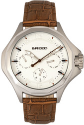 Breed Tempe Leather-Band Watch w/Day/Date - Light Brown/Silver-Tone