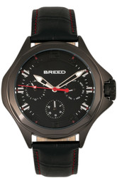 Breed Tempe Leather-Band Watch w/Day/Date - Black