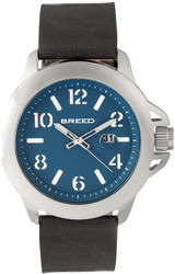 Breed Bryant Leather-Band Watch w/Date - Silver-Tone/Blue