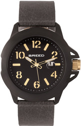 Breed Bryant Leather-Band Watch w/Date - Black/Gold-Tone