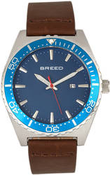 Breed Ranger Leather-Band Watch w/Date - Silver-Tone/Blue