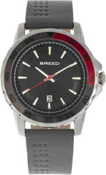 Breed Revolution Leather-Band Watch w/Date - Grey