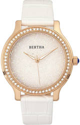 Bertha Cora Crystal-Encrusted Leather-Band Watch - White