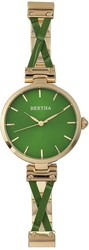 Bertha Amanda Criss-Cross Bracelet Watch - Gold-Tone/Green