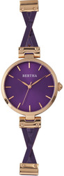 Bertha Amanda Criss-Cross Leather-Band Watch - Rose Gold-Tone/Purple