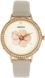 Bertha Delilah Leather-Band Watch - Rose Gold-Tone/Grey