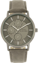 Elevon Lear Leather-Band Watch w/Day/Date - Grey/Gunmetal