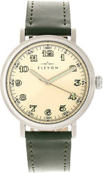 Elevon Felix Leather-Band Watch - Silver-Tone/Green