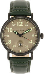 Elevon Von Braun Leather-Band Watch w/Date Display - Gunmetal/Green