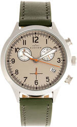 Elevon Antoine Chronograph Leather-Band Watch w/Date - Olive/Pewter-Tone
