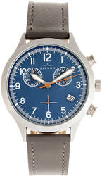 Elevon Antoine Chronograph Leather-Band Watch w/Date - Grey/Blue