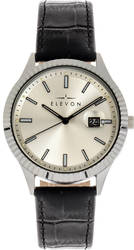 Elevon Concorde Leather-Band Watch w/Date - Silver-Tone