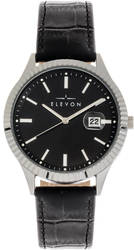 Elevon Concorde Leather-Band Watch w/Date - Silver-Tone/Black