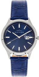 Elevon Concorde Leather-Band Watch w/Date - Silver-Tone/Blue