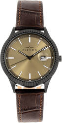 Elevon Concorde Leather-Band Watch w/Date - Black/Gold-Tone