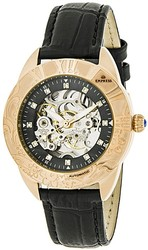 Empress Godiva Automatic MOP Leather-Band Watch - Rose Gold-Tone/Black