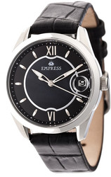 Empress Messalina Automatic MOP Leather-Band Watch w/Date - Black
