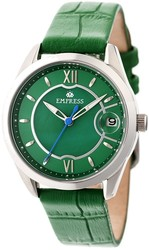 Empress Messalina Automatic MOP Leather-Band Watch w/Date - Green
