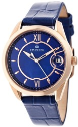 Empress Messalina Automatic MOP Leather-Band Watch w/Date - Blue