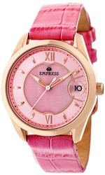 Empress Messalina Automatic MOP Leather-Band Watch w/Date - Pink