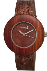 Earth Wood Ligna Leather-Band Watch - Red