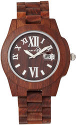 Earth Wood Heartwood Bracelet Watch w/Date - Red