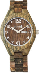 Earth Wood Sapwood Bracelet Watch w/Date- Olive