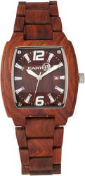 Earth Wood Sagano Bracelet Watch w/Date - Red