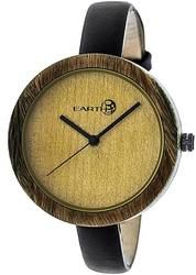 Earth Wood Yosemite Leather-Band Watch - Olive