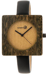 Earth Wood Teton Leather-Band Watch - Olive