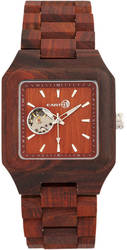 Earth Wood Black Rock Automatic Bracelet Watch - Red