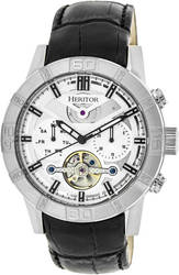 Heritor Automatic Hannibal Semi-Skeleton Leather-Band Watch - Silver