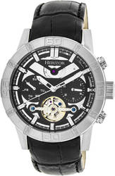Heritor Automatic Hannibal Semi-Skeleton Leather-Band Watch - Silver/Black