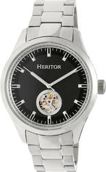 Heritor Automatic Crew Semi-Skeleton Bracelet Watch - Silver-Tone/Black
