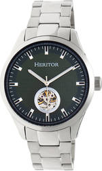 Heritor Automatic Crew Semi-Skeleton Bracelet Watch - Silver-Tone/Olive