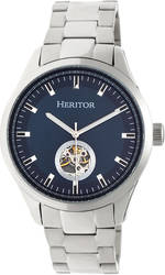 Heritor Automatic Crew Semi-Skeleton Bracelet Watch - Silver-Tone/Navy