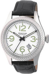 Heritor Automatic Barnes Leather-Band Watch w/Date - Silver-Tone