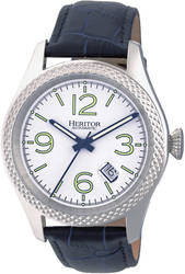 Heritor Automatic Barnes Leather-Band Watch w/Date - Silver-Tone/Navy