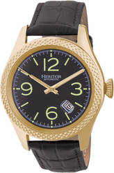 Heritor Automatic Barnes Leather-Band Watch w/Date - Gold-Tone/Black