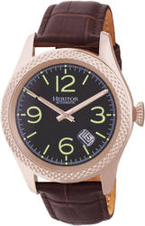 Heritor Automatic Barnes Leather-Band Watch w/Date - Rose Gold-Tone/Brown