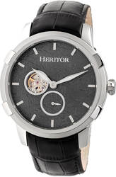 Heritor Automatic Callisto Semi-Skeleton Leather-Band Watch - Silver-Tone/Grey
