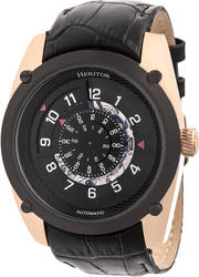 Heritor Automatic Daniels Semi-Skeleton Leather-Band Watch Rose Gold-Tone/Black