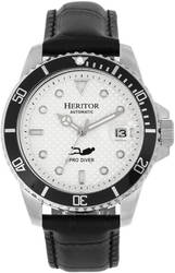 Heritor Automatic Lucius Leather-Band Watch w/Date - Silver-Tone/White