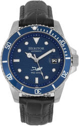 Heritor Automatic Lucius Leather-Band Watch w/Date - Silver-Tone/Blue
