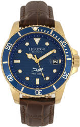 Heritor Automatic Lucius Leather-Band Watch w/Date - Gold-Tone/Blue