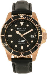 Heritor Automatic Lucius Leather-Band Watch w/Date - Rose Gold-Tone/Black