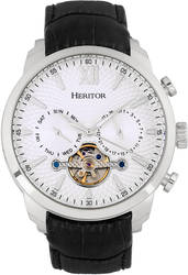 Heritor Automatic Arthur Semi-Skeleton Leather Watch w/ Day/Date - Silver-Tone