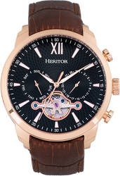 Heritor Automatic Arthur Semi-Skeleton Leather-Band Watch Day/Date - Pink/Black