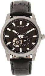Heritor Automatic Davidson Semi-Skeleton Leather-Band Watch - Silver-Tone/Black